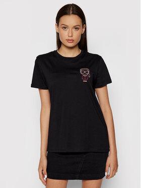 KARL LAGERFELD KARL LAGERFELD T-Shirt Mini Karl Ikonik Outline 215W1712 Černá Regular Fit