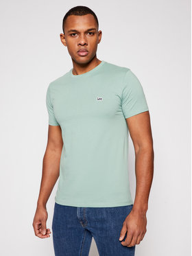 Lee Lee T-Shirt Patch Logo L60UFQQN Zielony Regular Fit