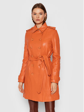 Guess Guess Kožená bunda Felicia W1BL25 L0PK0 Oranžová Regular Fit