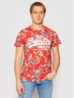 Superdry Superdry T-Shirt Vl Aop M1010999A Czerwony Regular Fit
