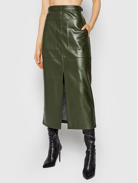 NA-KD NA-KD Fustă din imitație de piele Belted 1018-007370-0086-581 Verde Regular Fit