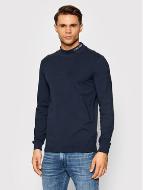 Calvin Klein Calvin Klein Longsleeve Slim Stretch Mock Ls K10K107921 Granatowy Regular Fit