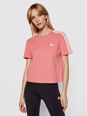 adidas adidas Tričko Essentials 3-Stripes GL0780 Ružová Loose Fit