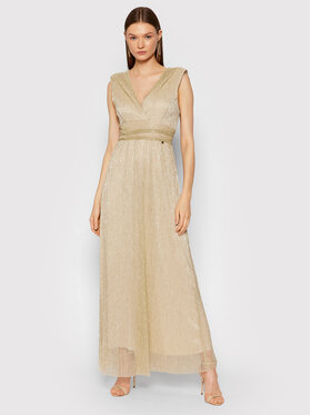 Rinascimento Rinascimento Večerné šaty CFC0104690003 Zlatá Slim Fit