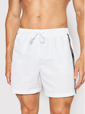 Calvin Klein Swimwear Calvin Klein Swimwear Pantaloni scurți pentru înot Drawstring KM0KM00558 Alb Regular Fit