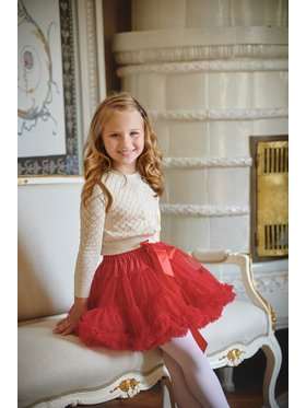 LaVashka LaVashka Spódnica 12-B Czerwony Regular Fit