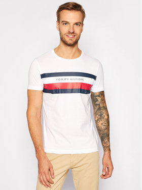 Tommy Hilfiger Tommy Hilfiger T-Shirt Stripe MW0MW15318 Weiß Regular Fit