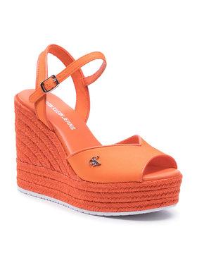 Calvin Klein Jeans Calvin Klein Jeans Espadrilky Wedge Sandal Ankle Strap YW0YW00121 Oranžová