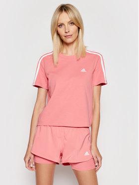 adidas adidas Marškinėliai Essentials 3-Stripes GL0780 Rožinė Loose Fit