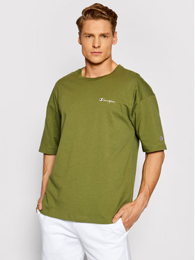 Champion Champion T-Shirt Small Script Logo 214282 Zielony Custom Fit