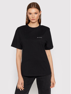 Pinko Pinko T-Shirt Tianamen AL 21-22 BLK01 1G16FK Y79R Czarny Regular Fit