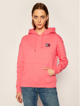 Tommy Jeans Tommy Jeans Bluză Tjw Badge Hoodie DW0DW07787 Roz Regular Fit