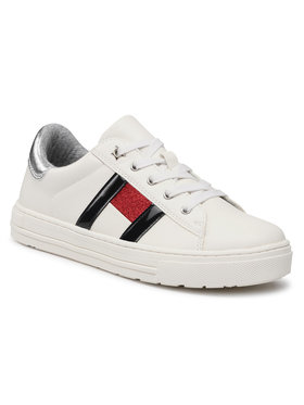 TOMMY HILFIGER TOMMY HILFIGER Sneakersy Low Cut Lace-Up Sneaker T3A4-31023-0813 S Bílá