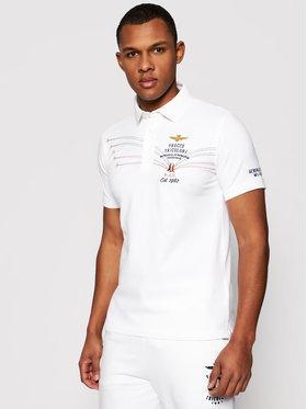 Aeronautica Militare Aeronautica Militare Тениска с яка и копчета 211PO1531P191 Бял Slim Fit