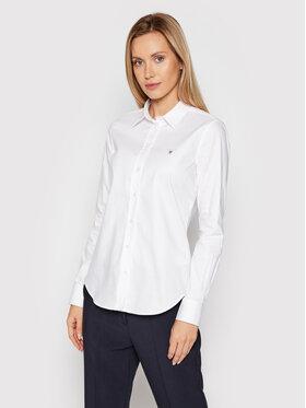 Gant Gant Koszula Stretch Oxford Solid 432681 Biały Slim Fit
