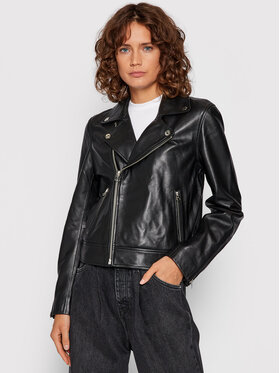 Calvin Klein Calvin Klein Kožená bunda Esssential Čierna Regular Fit