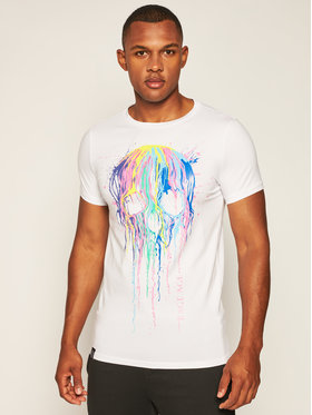 Rage Age Rage Age T-shirt Splash Skull 2 Blanc Skinny Fit