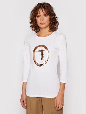 Trussardi Trussardi Bluzka Logo Jersey Stretch 56T00422 Biały Regular Fit