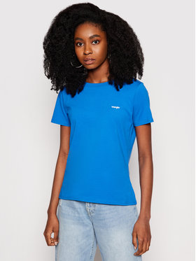 Wrangler Wrangler T-Shirt Sign Off W7Q0D3X2V Niebieski Slim Fit