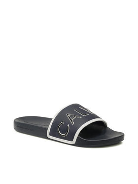 Calvin Klein Jeans Calvin Klein Jeans Klapki Slide Padded Ck Pes- Pu YM0YM00073 Granatowy