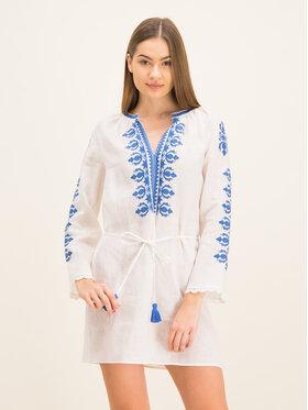 Tory Burch Tory Burch Sukienka plażowa Embroidered Linen Dress 54804 Biały Regular Fit