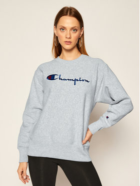 Champion Champion Mikina Script Logo 113795 Šedá Regular Fit