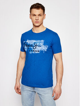 Pepe Jeans Pepe Jeans T-Shirt Golders PM503213 Modrá Slim Fit