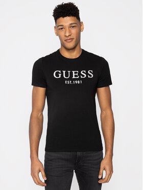 Guess Guess Marškinėliai Argenté M0GI93 J1300 Juoda Super Slim Fit