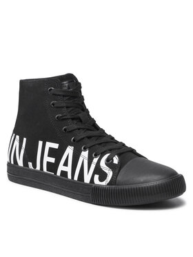 Calvin Klein Jeans Calvin Klein Jeans Trampki Vulcanized Mid Sneaker Logo YM0YM00276 Czarny