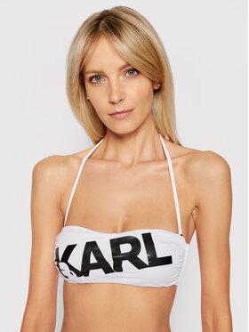 KARL LAGERFELD KARL LAGERFELD Gornji dio kupaćeg kostima Printed Logo KL21WTP06 Bijela
