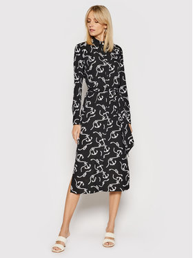 Lauren Ralph Lauren Lauren Ralph Lauren Hemdkleid Print Belted Crepe 200819950001 Schwarz Straight Fit