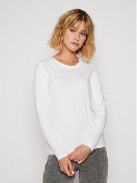 Calvin Klein Calvin Klein Bluzka Ls Stud Logo Tee K20K202386 Biały Regular Fit