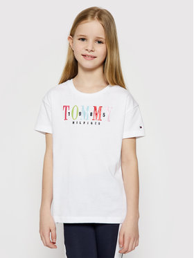 Tommy Hilfiger Tommy Hilfiger T-Shirt Multi Text Sateen Tee KG0KG05761 D Biały Regular Fit