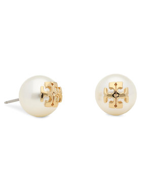 Tory Burch Tory Burch Náušnice Crystal Pearl Stud Earring 11165514 Biela