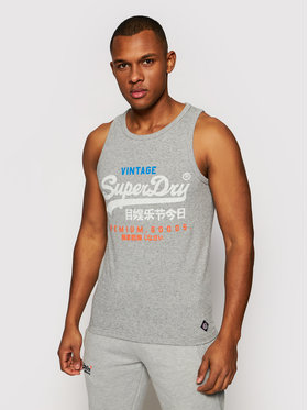 Superdry Superdry Tank top Vl Tri M6010420A Szary Regular Fit