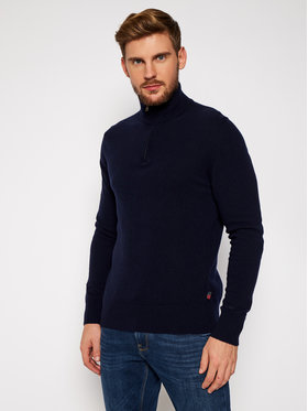 Woolrich Woolrich Džemper Supergeelong Half Zip CFWOKN0074MR UF0469 Tamnoplava Regular Fit