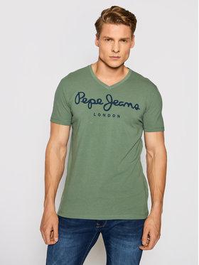 Pepe Jeans Pepe Jeans Póló Original Stretch V PM500373 Zöld Slim Fit
