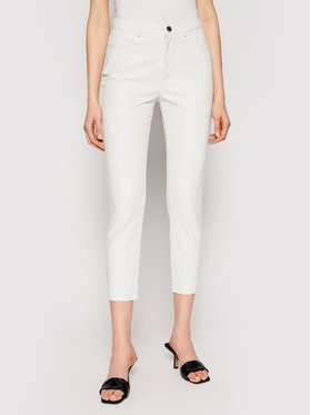 Pinko Pinko Pantalon en cuir Susan PE 21 BLK01 1G15ZV 7105 Blanc Regular Fit
