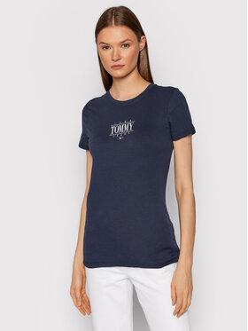 Tommy Jeans Tommy Jeans Marškinėliai Essential Logo DW0DW11239 Tamsiai mėlyna Skinny Fit