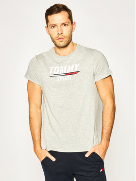 Tommy Sport Tommy Sport Тишърт Printed Tee S20S200442 Сив Regular Fit