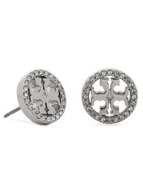 Tory Burch Tory Burch Обици Miller Pave Stud Earring Box 80318 Сребрист