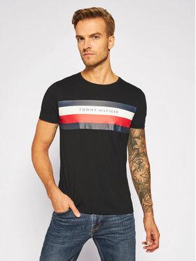 Tommy Hilfiger Tommy Hilfiger T-Shirt Stripe Tee MW0MW15318 Černá Regular Fit