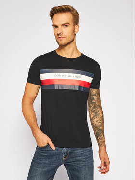 Tommy Hilfiger Tommy Hilfiger T-Shirt Stripe Tee MW0MW15318 Czarny Regular Fit
