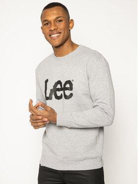 Lee Lee Majica dugih rukava Basic Crew Logo L80XTJMP Siva Regular Fit