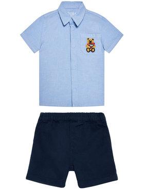Guess Guess Σετ πουκάμισο και σορτς υφασμάτινα I1RG19 W9CL0 Μπλε Regular Fit
