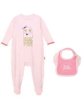 Little Marc Jacobs Little Marc Jacobs Komplet śpiochy i śliniak W98125 Różowy