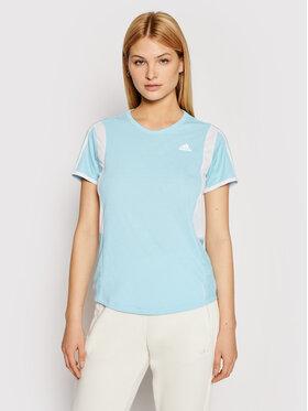 adidas adidas Techniniai marškinėliai Own The Run 3-Stripes Iteration GK5277 Mėlyna Regular Fit