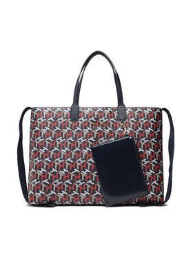 Tommy Hilfiger Tommy Hilfiger Kabelka Iconic Tommy Tote Corp Mono AW0AW10273 Tmavomodrá