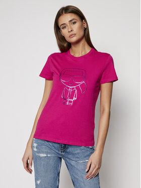 KARL LAGERFELD KARL LAGERFELD Marškinėliai Ikonic Outline 210W1703 Rožinė Regular Fit