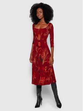 Desigual Desigual Každodenní šaty Flowers 21WWVK80 Bordó Regular Fit